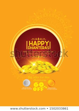 happy dhanteras festival card with gold coin pot design Stock photo © SArts