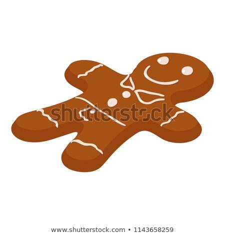Gingerbread man izometrik nesne imzalamak yüz Stok fotoğraf © Anna_leni