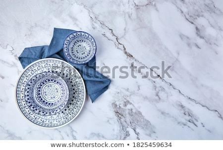 Azul vazio prato mármore tabela talheres Foto stock © Anneleven