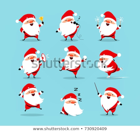 differences game with happy santa claus characters stock photo © izakowski