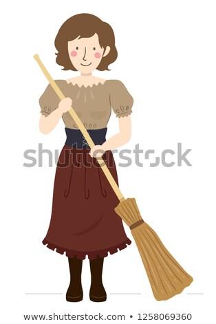 Dziewczyna średniowiecznej chłop miotła ilustracja Zdjęcia stock © lenm