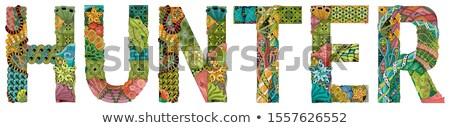 Male name HUNTER. Vector decorative zentangle object Stock photo © Natalia_1947