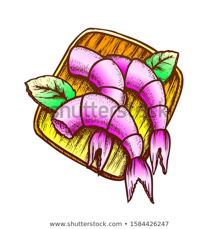 Shrimps With Basil On Wooden Board Ink Vector Stock photo © pikepicture
