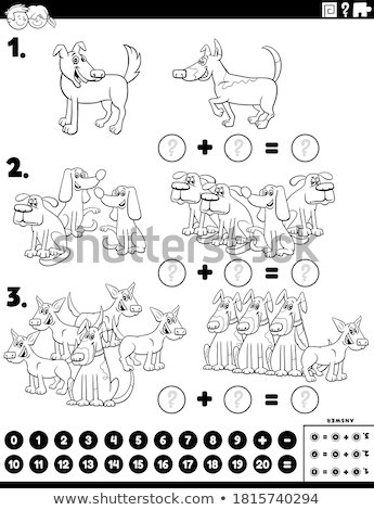 counting dogs educational task color book page Stock photo © izakowski