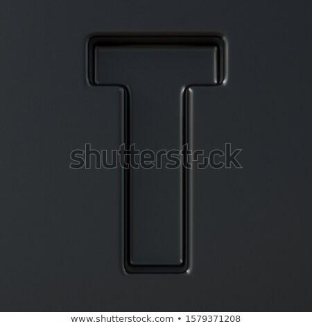 Negro grabado fuente letra t 3D 3d Foto stock © djmilic