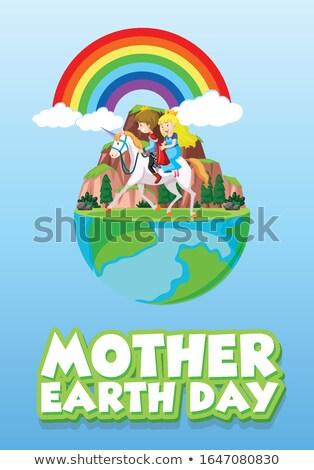 Cartaz projeto mãe dia da terra príncipe princesa Foto stock © bluering