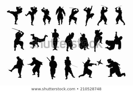Preto silhuetas ninja vermelho círculo esportes Foto stock © mayboro