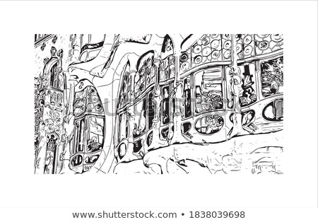 Abstrato Barcelona linha do horizonte cor edifícios Foto stock © ShustrikS