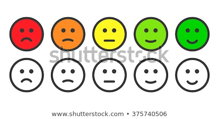 Face emoticons for rate of satisfaction level, five colorful grade smileys on white Stock photo © evgeny89