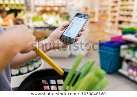 Comestibles compras lista teléfono móvil aplicación conveniente Foto stock © AndreyPopov
