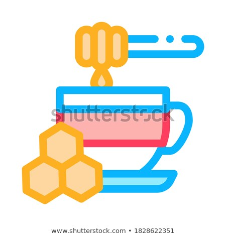 add honey to cup of tea icon vector outline illustration Stock photo © pikepicture