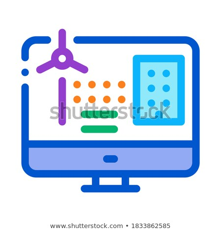 windmill computer control icon vector outline illustration Stock photo © pikepicture