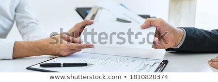 Hand Of Employer Filing Final Remuneration After Employee To Wri Сток-фото © Freedomz