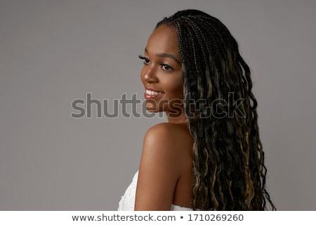 Stockfoto: Brunette · zwarte · portret · jonge · vrouw · kleding · witte