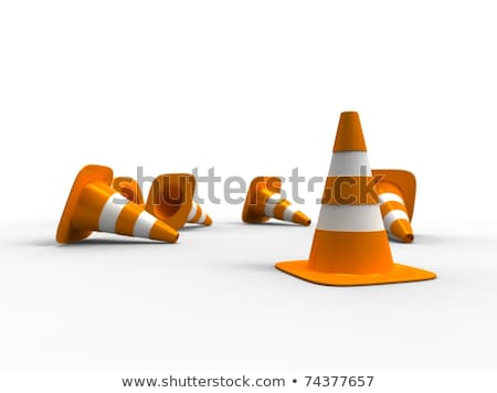3d illustration of traffic cone knock over on white background  Stock photo © dacasdo