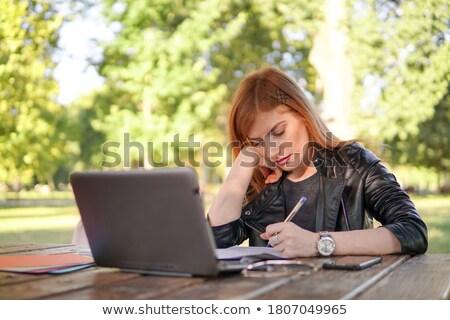 jong · meisje · huiswerk · kantoor · papier · boek · onderwijs - stockfoto © massonforstock