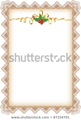 Vintage Christmas Page With Holly Gold Ribbon And Guilloche Bor Photo stock © Taiga