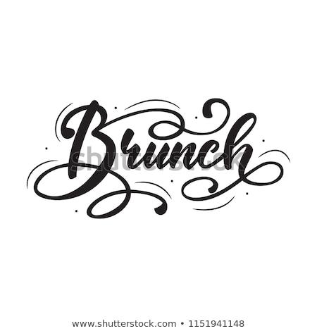 Brunch étel bolt fekete fehér iskolatábla Stock fotó © leeser