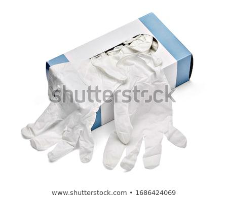 latex · kesztyű · takarítás · kéz · izolált · fehér - stock fotó © leeser