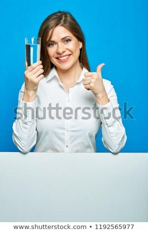 笑みを浮かべて 白人 女性 名刺 白 ストックフォト © Qingwa