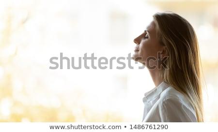 Stockfoto: Diep · adem · natuur · jonge · vrouw · genieten · ademhaling