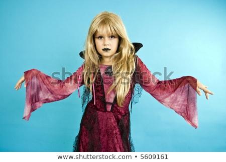 Сток-фото: девушки · вверх · вампир · Хэллоуин · кровь · рот
