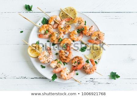 crevettes · dîner · barbecue · fruits · de · mer · bâton · isolé - photo stock © M-studio