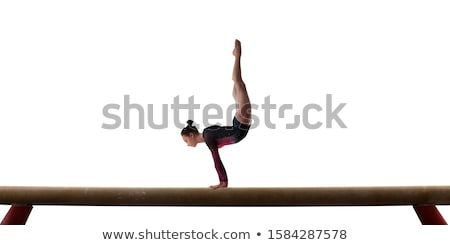 Foto stock: Beautiful · girl · ginástica · branco · mulher · corpo · exercer