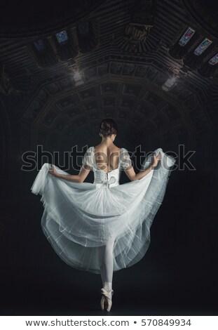 Hát gyönyörű nő táncos gyönyörű hosszú fekete Stock fotó © feedough