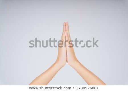 Oração gesto mãos colorido luzes luz Foto stock © photosil