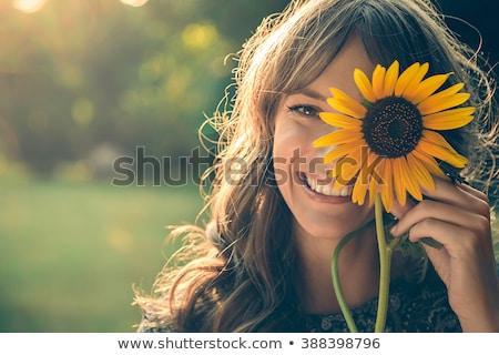 retrato · bastante · menina · sorridente · grama · verão - foto stock © OleksandrO