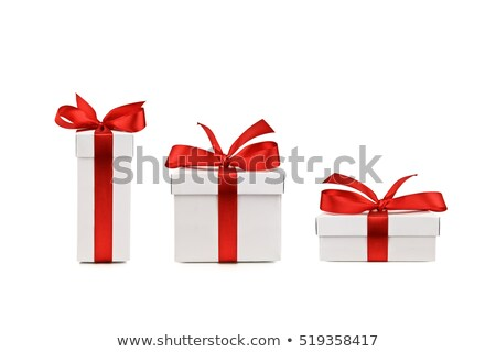 Stock photo: White Gift Box with Red Satin Ribbon Bow
