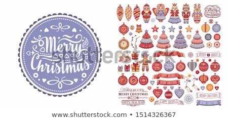 vidám · karácsonyi · üdvözlet · angyalok · ünnep · terv · textúra - stock fotó © elmiko