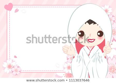Bride shows white board with copyspace Stock photo © Nobilior