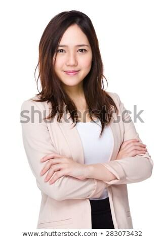 Retrato armado bom jovem senhora inverno Foto stock © acidgrey