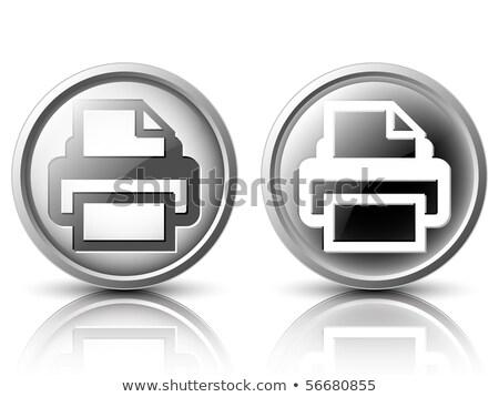 Stok fotoğraf: Yazıcı · ikon · karanlık · mavi · yalıtılmış · siyah