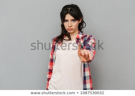 retrato · enojado · nina · parada · mano - foto stock © aikon
