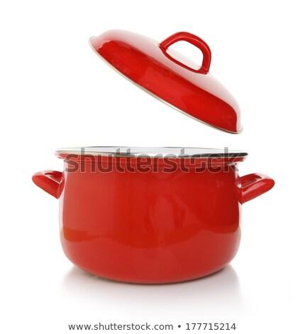 Piros lábas üres fehér konyha főzés Stock fotó © magraphics
