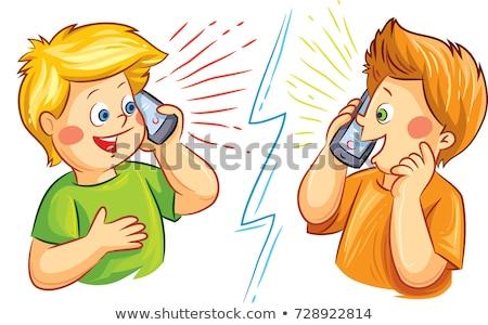 Stock photo: children with phones 2