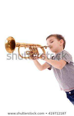 Boy Blowing Trumpet Stock photo © Marfot