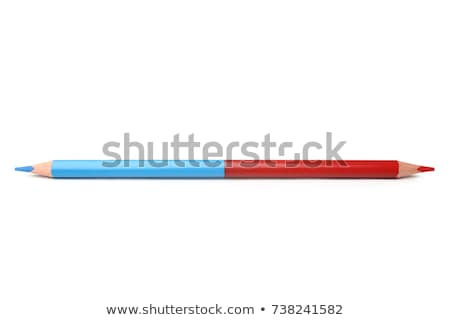 Kék piros dupla színesceruza fehér fa Stock fotó © lunamarina