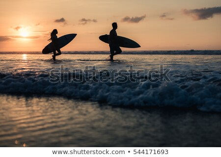 silhouette of surfing couple walking from the sea Stock photo © morrbyte