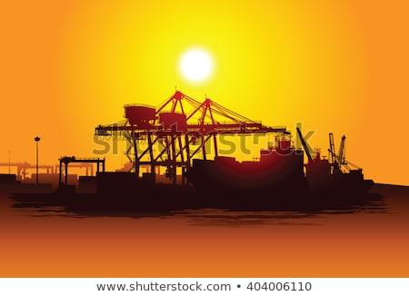 силуэта · большой · грузовое · судно · порта · морем · пейзаж - Сток-фото © pxhidalgo