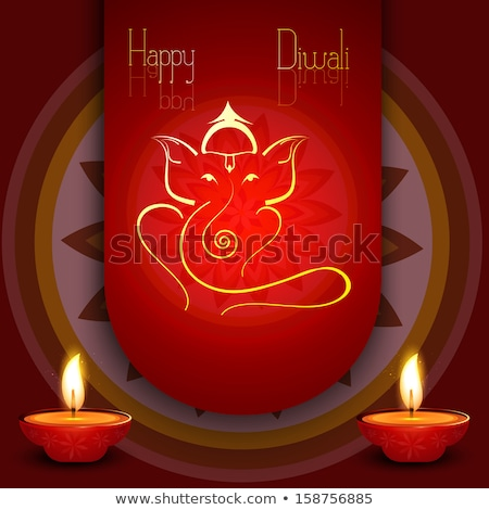 beautiful diwali card colorful rangoli artistic lord ganesha bac stock photo © bharat