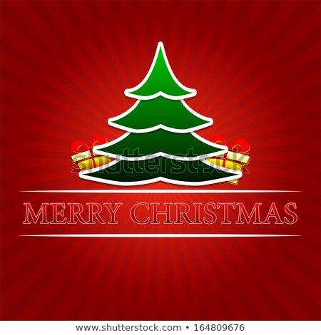 merry christmas with golden gift boxes over red rays Stock photo © marinini