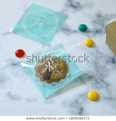 kalp · bisküvi · ahşap · masa · kare · görüntü · sevmek - stok fotoğraf © m-studio