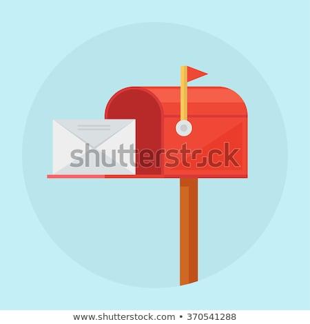 Boîte aux lettres rouge blanche enveloppe rendu 3d fond Photo stock © Koufax73