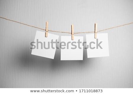három · azonnali · fotók · akasztás · ruhaszárító · izolált - stock fotó © oly5