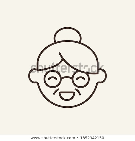 oma · oude · dame · gelukkig · gelukkig · stoel - stockfoto © vectorpro