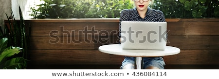 Woman laptop wifi outdoor cafe Stock photo © HASLOO